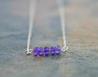 Feburary Birthstone Necklace, Amethyst Necklace, Birthstone Jewelry, Amethyst Line Necklace, Birthstone Line Necklace, Birthday Necklace