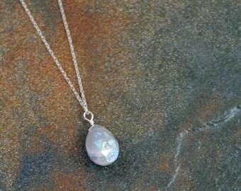 June Birthstone Necklace, Grey Moonstone Necklace, Grey Moonstone Briolette Necklace, June Jewelry, Birthstone Jewelry, Birthday Necklace