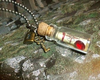 Map and Treasure with Lock and Key / Miniature Glass Bottle Necklace