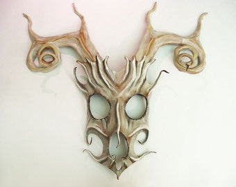 Stag Spirit Mask in Leather with Spiral Antlers deer elk skull by TEONOVA