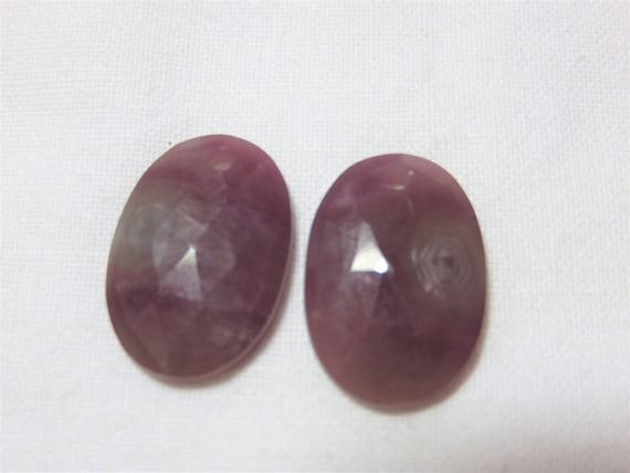 Natural Smooth Ruby Color Sapphire Faceted Oval Drop