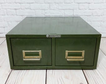 Vintage Steelmaster Army Olive Green Card File Two Drawer Stackable Cabinet