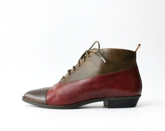 1980's Two Tone Oxfords Ankle Boots