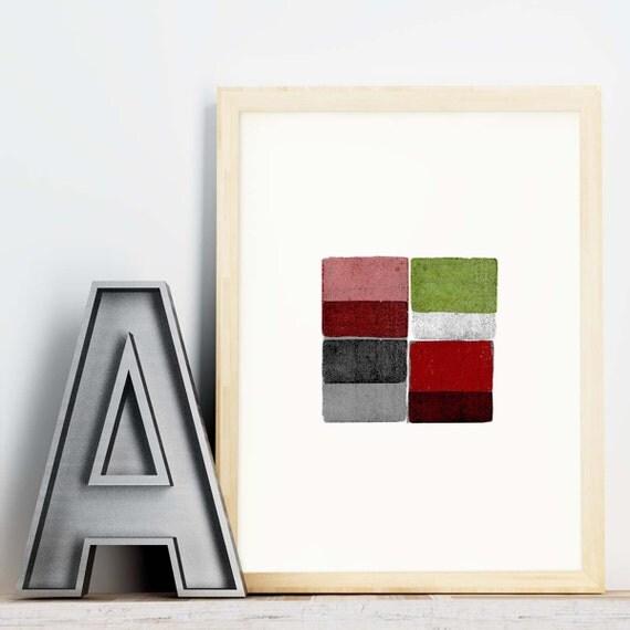 Four Blocks 2 - abstract geometric wall art print