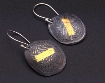 ON SALE ON Sale Keum boo, 24k gold, fine silver and sterling silver dark patina dangle earrings