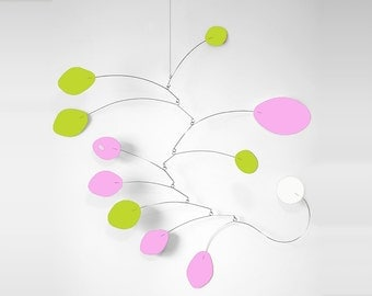 Adorable Pink & Lime MCM Mobile by Atomic Mobiles - 3 Sizes - Midcentury Modern Inspired Handmade Art