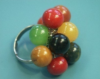 Vintage Bakelite Rainbow Bobbles Ring - Geometric Nucleus Jewelry