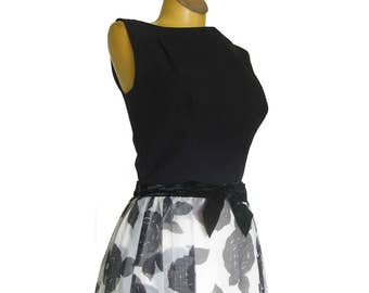 1950s Cocktail Dress with Black Bodice, Floral Chiffon Skirt and Over Skirt / Sleeveless Black and White Party Dress