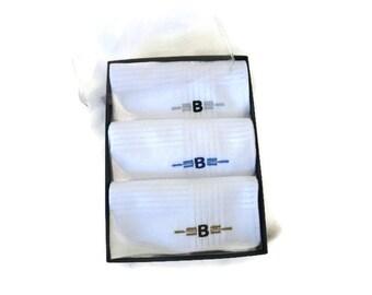 Monogrammed Handkerchief. Mens Handkerchief. Mens Monogrammed Handkerchiefs. Personalized Handkerchief. White. Tonal with Initial