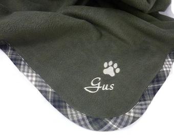 Pet Blanket.Personalized Pet Blanket. Dog Blanket. Cat Blanket. Fleece Pet Blanket. Green Plaid Pet Blanket