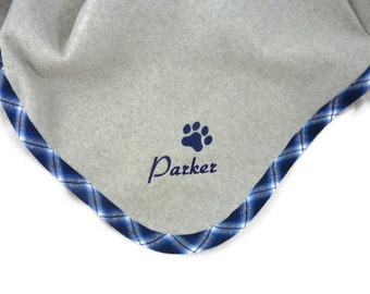 Pet  Blanket  Personalized   Blue Plaid