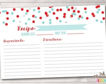 Instant Download Recipe Cards Blue & Red Polka Dot Confetti Printable PDF