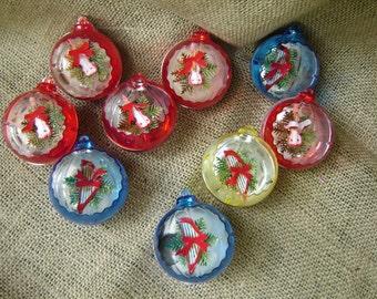 Vintage Jewel Brite Plastic Ornaments  Christmas Ornaments 9 cs 1960s