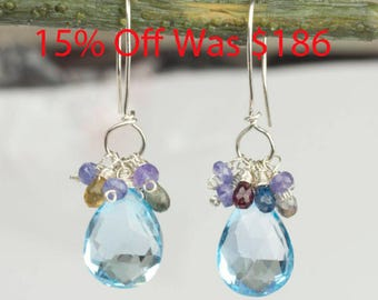 Blue Topaz and Sapphire Earrings, Gemstone Cluster Earrings, Wire wrapped Silver Earrings, Handmade