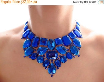 CYBER WEEK SALE Royal Blue Rhinestone Bib Necklace, Blue Jeweled Rhinestone Statement Necklace, Blue Bridesmaid Necklace, Blue Statement Nec