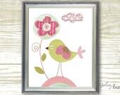 Baby Nursery Art- Birds print- nursery wall art- Kids art- nursery decor- kids room decor- baby bird-  Summer Is Here print