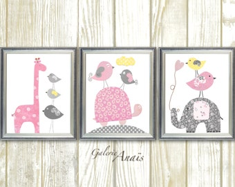 Pink Yellow and gray Nursery wall art nursery decor girl baby nursery kids art Elephant Giraffe turtle Birds Set of three prints