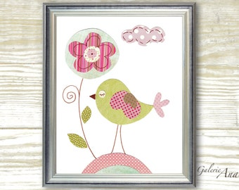 Baby Nursery Art- Birds print- nursery wall art- Kids art- nursery decor- kids room decor- baby bird-  Summer Is Here print