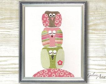 Nursery wall art Baby Girl Nursery Decor kids room decor owl nursery  Bird nursery Kids wall art - Hoot Hoot Hoot  print