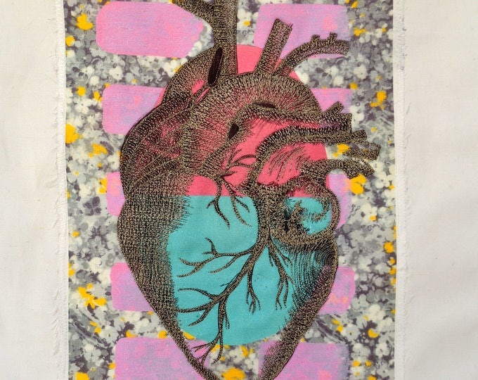 Unique Beautifully EMBROIDERED HEART. Original Work of ART From Barcelona