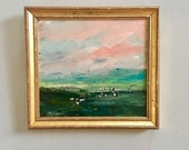 Cow Landscape- Framed- Small Painting - Original Painting- 6 x 7 approx. inch - including Frame -  Collectible - Fine Art