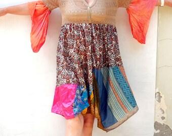 Handmade, Upcycled Clothing, Patchwork Dress, Funky , Lurex Transparent Top, Boho, Gypsy, Wearable Art, ResplendentRags, SunDance, Festival