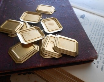 6 pcs LARGE square setting charms - vintage brass charms - use for settings or enamel work - old new stock