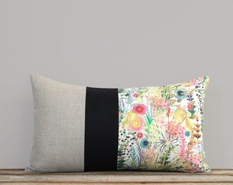 LIMITED EDITION: Abstract Floral Liberty Print Pillow Cover by JillianReneDecor, Watercolor Flowers, Spring Decor 12x20 Lumbar Floral Pillow