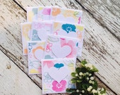 Watercolor Floral Mini Heart Cards Set