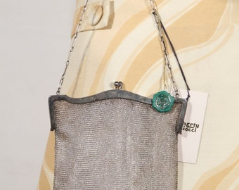 BOTTOMLEY SPENHOUSE Vintage Silver Metal MESH purse handbag evening bag