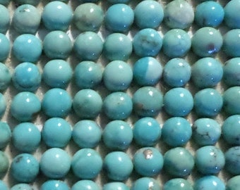 12 Tiny 3mm Turquoise Cabochons-Blue