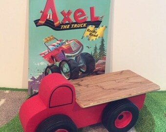 Toy Red Flatbed Truck and Axel the Truck Rocky Road Book - Handcrafted Wooden Toy Flatbed Red Truck -My First I Can Read Book Alex the Truck