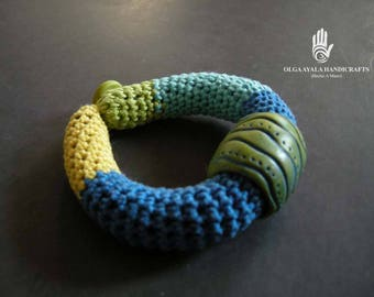 Fiber and  Polymer Clay Bangle Bracelet - Yellow Blue Green Color Block