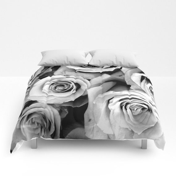 ROSES Comforter, Black White Bedding, Flower bedding, Unique, Flower Comforter, Full, Queen, King, Retro, Vintage, Dorm, Drama, Classic