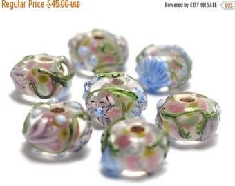 ON SALE 50% OFF Handmade Glass Lampwork Bead Set - Seven Light Pink w/Blue Floral Rondelle Beads 11005401
