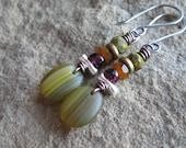 Olive Green Orange Czech Glass Garnet Mixed Metal Earrings