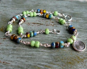 Multi Color Czech Glass Anklet-Wire Wrapped-Colorful-Bright-Spiral Charm-Sterling Silver-Festive-Summertime