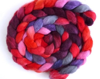 BFL Wool Roving - Hand Painted Spinning or Felting Fiber, Flashy Vigor