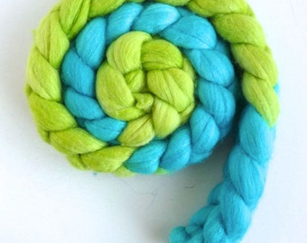 Merino/ Silk Roving (Top) - Handpainted Spinning or Felting Fiber, Chartreuse and Turquoise