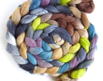 Merino/ Silk Roving (Top) - Handpainted Spinning or Felting Fiber, Lone Grasshopper