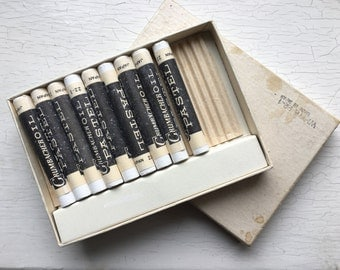 9 Grumbacher Oil Pastel Sticks Vintage in Box Made in Japan White