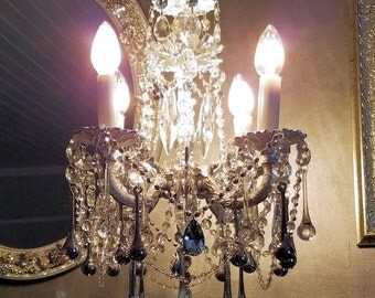 On Hold - Chandelier, Vintage Silver Chandelier, Silver Bling Chandelier, Small Vintage Chandelier, Chandeliers and Pendants