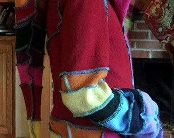 Rainbow girls dress cashmere and lambs wool button up front sz 12  elvin hood long sleeves w thumb holes bright colors
