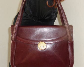 Italy calf leather   Kelly bag, shoulder bag , flap top  satchel,handbag ,purse dual strap handbag, vintage 70s  merlot color