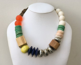 Necklace 2.28 - handmade beaded asymmetrical one of a kind colorful statement necklace featuring vinage lucite wood metal ceramic beads