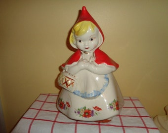 Vintage Hull Little Red Riding Hood Cookie jar Closed Basket FREE SHIPPING #6