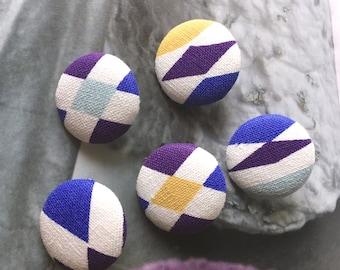 Handmade Purple Blue Yellow Off White Scandinavian Geometric Print Fabric Covered Button Fridge Magnets, 1.1 Inches 5's