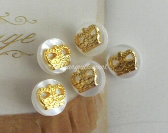 5 Mini Small Retro Vintage Style Gold Golden Crown Jacket Coat Sweater Metal Button 0.4 Inches / 1 cm