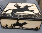 Vintage Slag Glass Western Cowboy Horse Trinket Box Stained Glass Detail is amazing