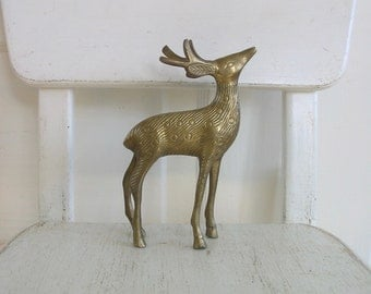 Vintage Large Brass Deer, Vintage Reindeer, Christmas Deer, Christmas Reindeer, Vintage Brass Animal, Christmas Decor, Deer Figurine
